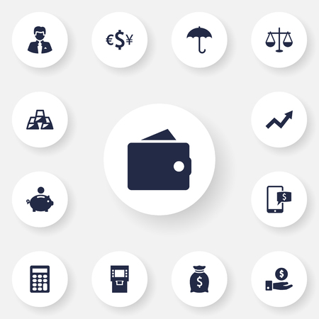 Set Of 13 Finance Icons Set.Collection Of Save Money, Terminal, Grown And Other Elements.