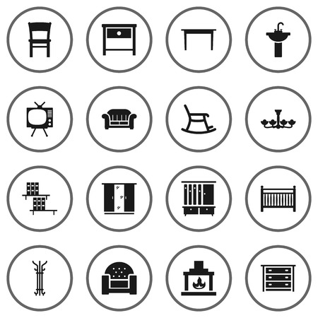 bedroom: Set Of 16 Set Icons Set.Collection Of Rocking Furniture, Bookcase, Luster And Other Elements.