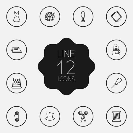 Set Of 12 Stitch Outline Icons Set.Collection Of Dummy, Tremble, Awl And Other Elements.
