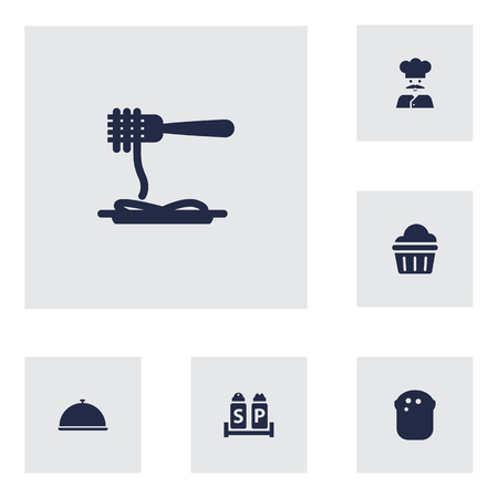Set Of 6 Cafe Icons Set.Collection Of Baguette, Vermicelli, Muffin And Other Elements. Illustration