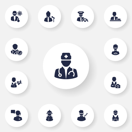 scholarly: Set Of 13 Position Icons Set.Collection Of Scholarly, Manager, Medic And Other Elements.