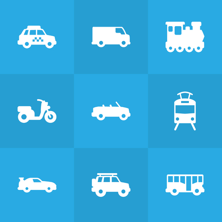 tramcar: Set Of 9 Transport Icons Set.Collection Of Streetcar, Cabriolet, Coupe And Other Elements. Illustration