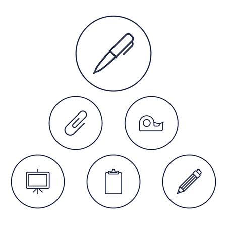 Ensemble de 6 instruments Outline Icons Set. Collection de presse-papiers, collant, pince à papier et autres éléments. Banque d'images - 82725250