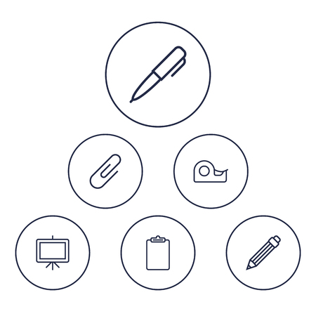 checklist: Set Of 6 Instruments Outline Icons Set.Collection Of Clipboard, Sticky, Paper Clamp And Other Elements. Illustration