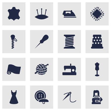 Set Of 16 Sewing Icons Set.Collection Of Tailor, Clothier, Knitting And Other Elements.