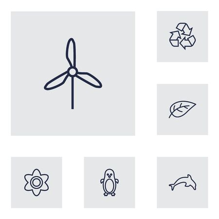 antarctic: Set Of 6 Natural Outline Icons Set.Collection Of Recycle, Dolphin, Flower And Other Elements.