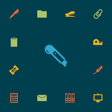 checklist: Set Of 13 Stationery Icons Set.Collection Of Knife, Folder, Highlighter And Other Elements.