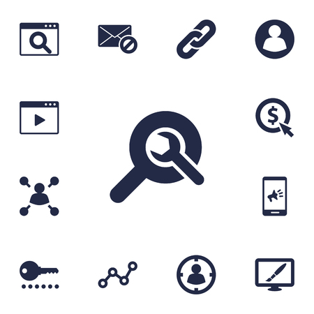 tactics: Set Of 13 Optimization Icons Set.Collection Of Targeting, Magnifier, Guest And Other Elements. Illustration