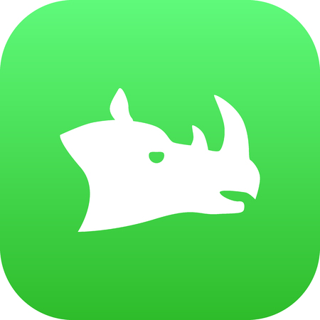 Isolated Rhino Icon Symbol On Clean Background. Vector Rhinoceros Element In Trendy Style. Ilustrace