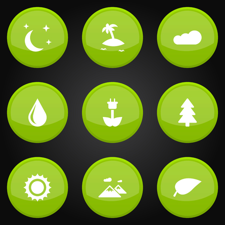 Set Of 9 Ecology Icons Set.Collection Of Isle Beach, Overcast, Foliage And Other Elements.