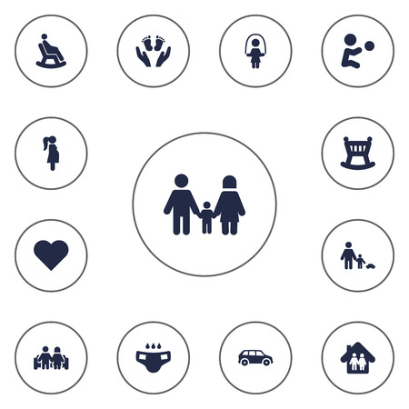 romance bed: Set Of 13 Family Icons Set.Collection Of Girl, Playing, Family In Home And Other Elements.