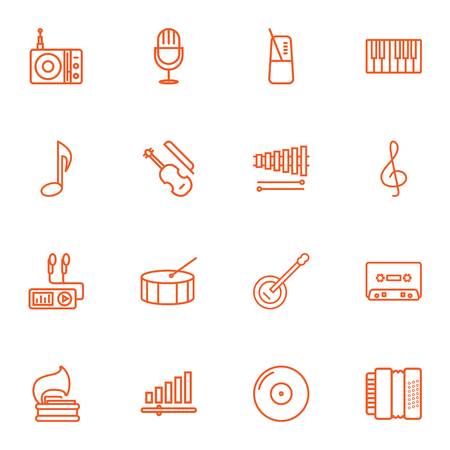 concertina: Set Of 16 Melody Outline Icons Set.Collection Of Harmonica, Turntable, Pace And Other Elements.