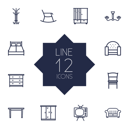 Set Of 12 Decor Outline Icons Set.Collection Of Hanger, Table, Sofa And Other Elements.