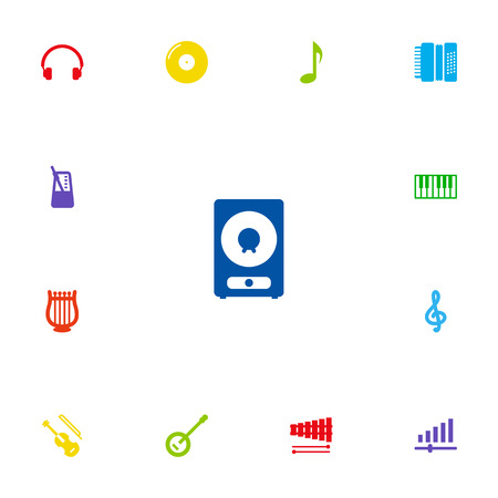 Set Of 13 Music Icons Set.Collection Of Octave Keyboard, Quaver, Harmonica And Other Elements.