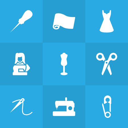 Set Of 9 Tailor Icons Set.Collection Of Roll, Machine, Bodkin And Other Elements.