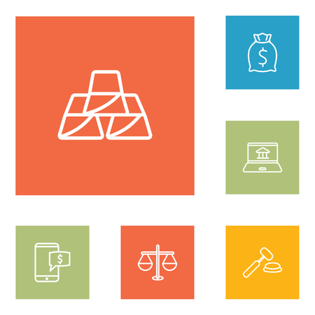 Set Of 6 Budget Outline Icons Set.Collection Of Moneybag, Auction, Justice And Other Elements.