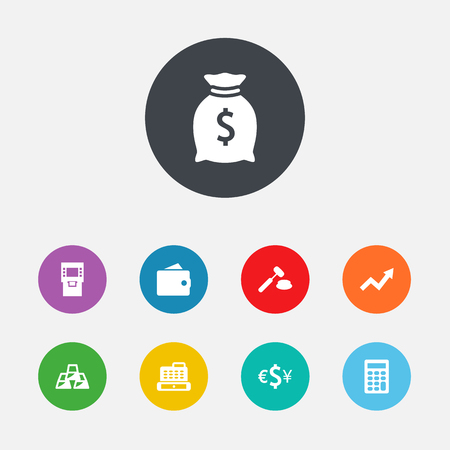 Set Of 9 Budget Icons Set.Collection Of Calculate, Judge, Currency And Other Elements. Иллюстрация