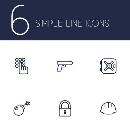 Set Of 6 Safety Outline Icons Set.Collection Of Safe, Keypad, Helmet And Other Elements.