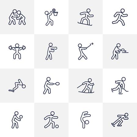 Ensemble de 16 jeux de contours Sport Set.Collection de Pong Ping, Snowboard, Player et d'autres éléments. Banque d'images - 82820582