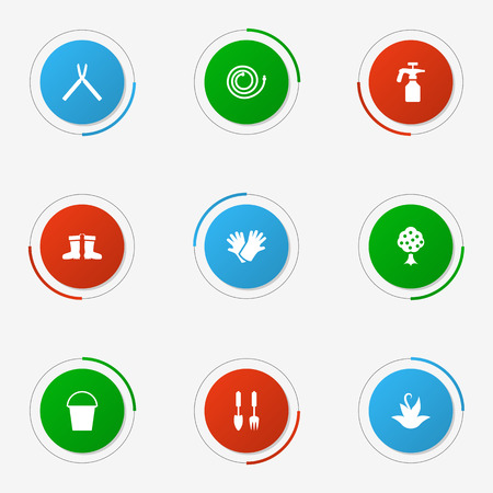 Set Of 9 Farm Icons Set.Collection Of Plant, Garden Hose, Garden And Other Elements.