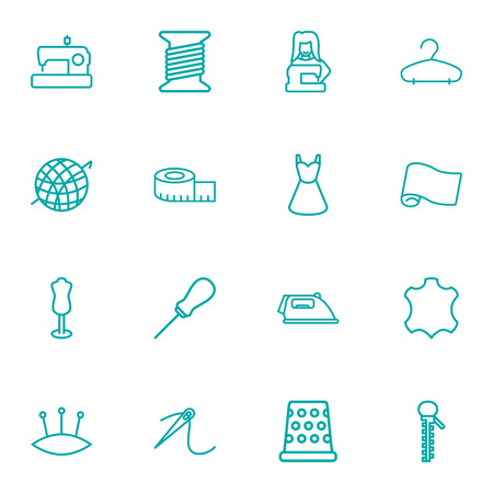 Set Of 16 Stitch Outline Icons Set.Collection Of Hanger, Leather, Sewing And Other Elements.