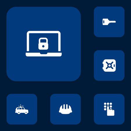 Ensemble de 6 icônes de sécurité Set.Collection de Strongbox, Open, Hardhat et autres éléments.