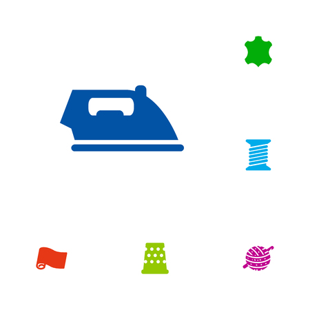 sewing machines: Set Of 6 Stitch Icons Set.Collection Of Roll, Skin, Spool And Other Elements.