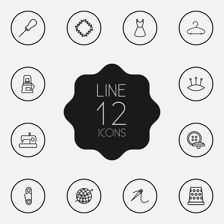 12 스티치 윤곽선 아이콘 세트의 집합입니다. 패치, 바늘, Awl 및 다른 요소의 컬렉션입니다.