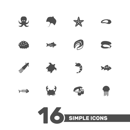 Set Of 16 Seafood Icons Set.Collection Of Medusa, Tortoise, Beefsteak And Other Elements.