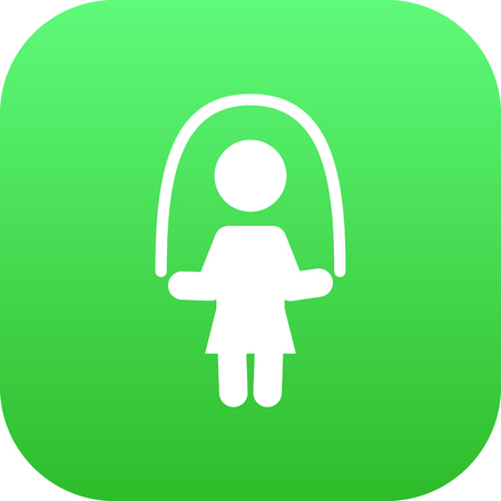 Isolated Skipping Rope Icon Symbol On Clean Background. Vector Girl Element In Trendy Style.