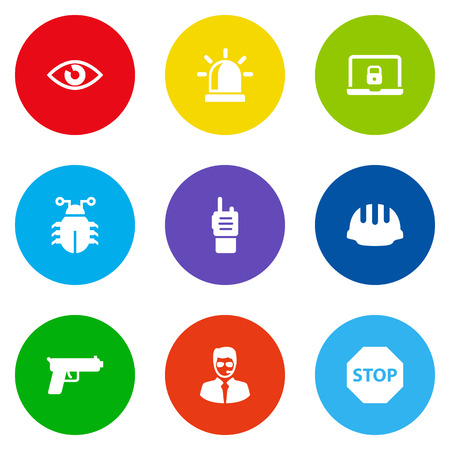 Set Of 9 Security Icons Set.Collection Of Security Man, Shot, Virus And Other Elements.