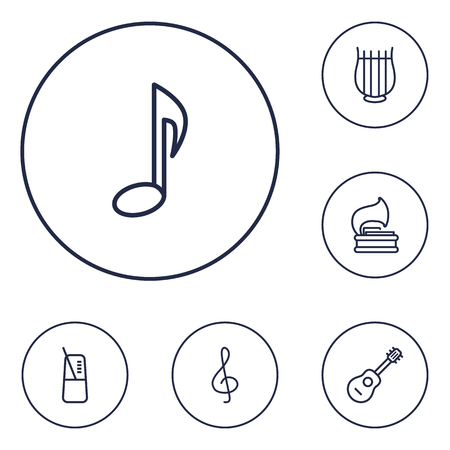 Set Of 6 Music Outline Icons Set.Collection Of Acoustic, Pace, Musical Sign And Other Elements.