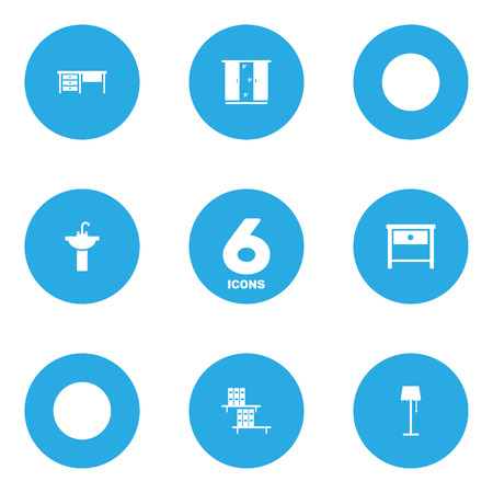 Set Of 6 Set Icons Set.Collection Of Worktop, Sink, Illuminator And Other Elements.