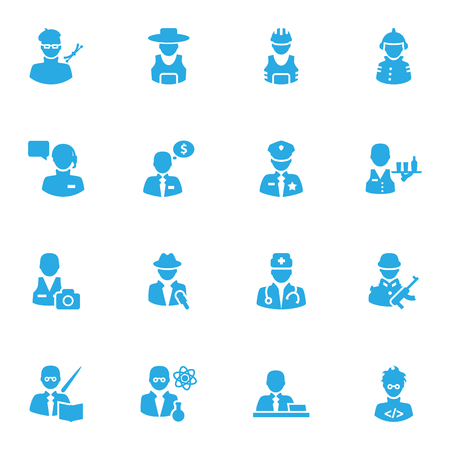Set Of 16 Job Icons Set.Collection Of Producer, Artist, Medic And Other Elements.