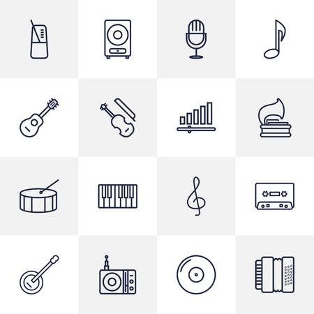 Set Of 16 Song Outline Icons Set.Collection Of Harmonica, Fiddle, Loudspeaker And Other Elements. Illustration
