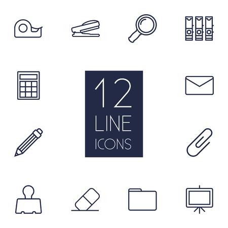 Ensemble de 12 ensemble d'icônes de contour papeterie. Collection de portefeuille, dessin, agrafe de liant et d'autres éléments. Banque d'images - 82821102