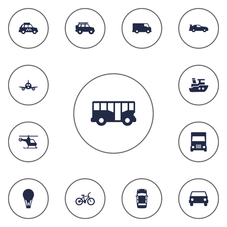 moving truck: Set Of 13 Shipping Icons Set.Collection Of Cabriolet, Copter, Truck And Other Elements.