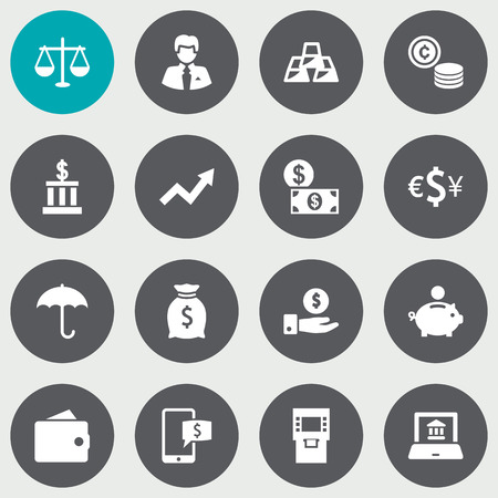 Set Of 16 Finance Icons Set.Collection Of Currency, Save Money, Balance And Other Elements. Иллюстрация