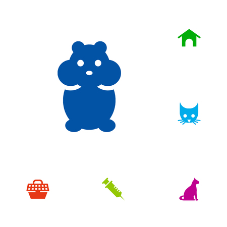Set Of 6 Pets Icons Set.Collection Of Pet Crate, Cat, Sitting And Other Elements. Illustration