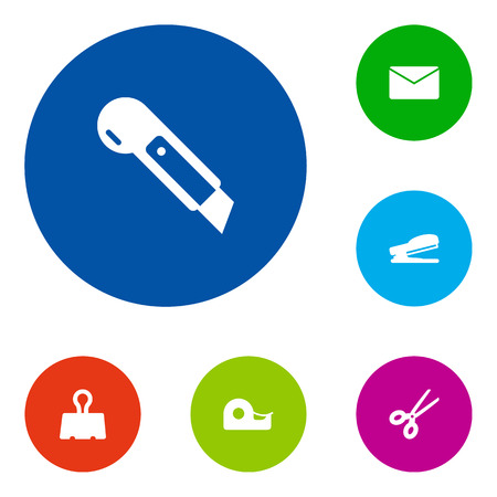 Set Of 6 Tools Icons Set.Collection Of Puncher, Mail, Clippers And Other Elements. Illustration