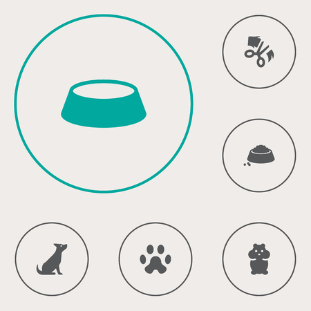 Set Of 6 Animals Icons Set.Collection Of Dog, Dish, Food And Other Elements.