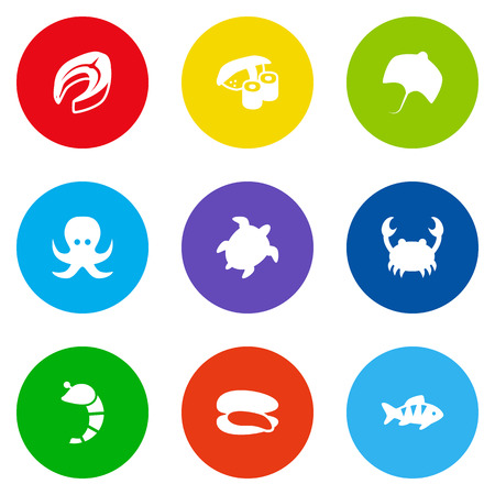 devilfish: Set Of 9 Food Icons Set.Collection Of Japanese Roll, Devilfish, Crustaceans And Other Elements.