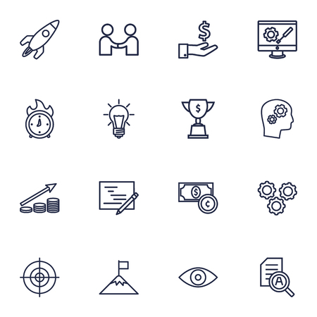 broken strategy: Set Of 16 Strategy Outline Icons Set.Collection Of Idea, Success, Planning And Other Elements.