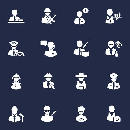 Set Of 16 Job Icons Set.Collection Of Rancher, Tray, Planner And Other Elements.