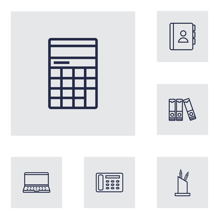 Set Of 6 Bureau Outline Icons SetCollection Of Telephone