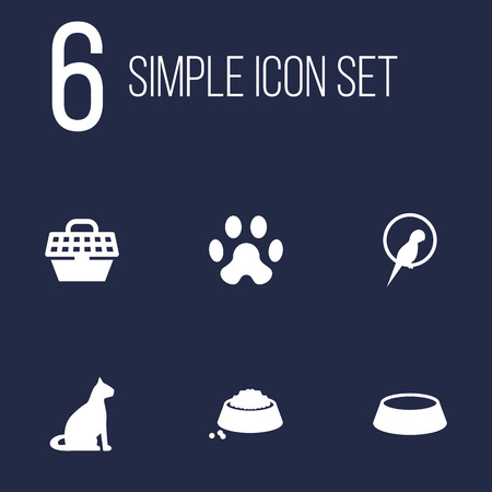 Set Of 6 Pets Icons Set.Collection Of Dish, Footprint, Food And Other Elements.