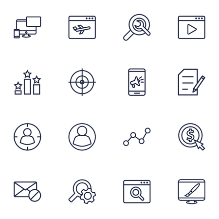 Set Of 16 Optimization Outline Icons Set.Collection Of Video Marketing, Targeting, Style And Other Elements.