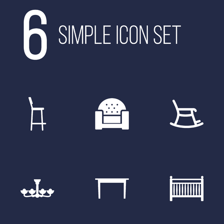Set Of 6 Decor Icons Set.Collection Of Desk, Rocking Furniture, Chair And Other Elements. Illustration