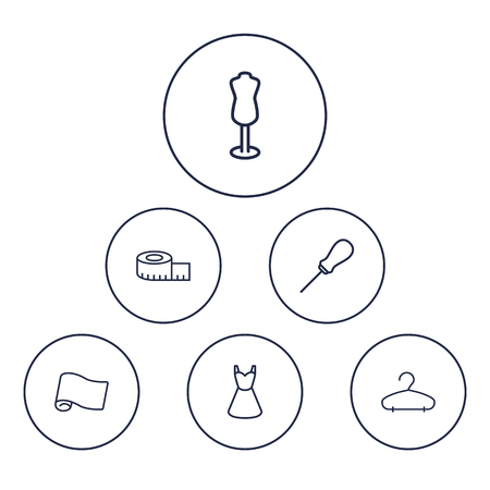 Set Of 6 Sewing Outline Icons Set.Collection Of Measuring Tape, Awl, Hanger And Other Elements.