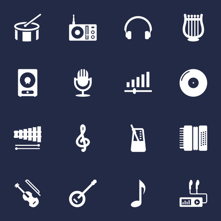 drumming: Set Of 16 Song Icons Set.Collection Of Rhythm Motion, Earphones, Radio And Other Elements.